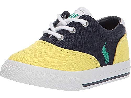 Polo Ralph Lauren Kids Unisex Vaughn II (Toddler) Navy/Yellow Canvas/Green Pony 5 M US - Toddler Canvas Navy Footwear
