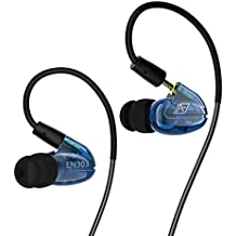 Double driver Musician's HIFI Earphone and earbuds.Sweatproof over ear Earbuds for Running Gym Jogging sportEarbuds Heavy Bass Earphones with Memory Wire Mic and detachable cable (Transparent blue