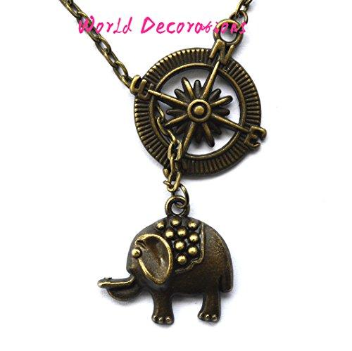 Graduation Gift - Travel Jewelry -Compass Necklace - Travel Gift,elephant necklace, brass elephant charm necklace,handmade, small elephant,gift, elephant jewelry,elephant pendant,simple jewelry,gift ()