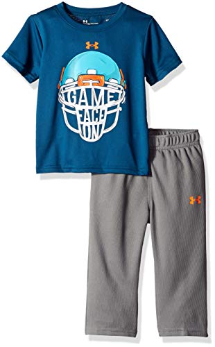 Under Armour Boys' Baby Two Piece Graphic Tee and Pant Set, Techno Teal Game face, 0-3 Months