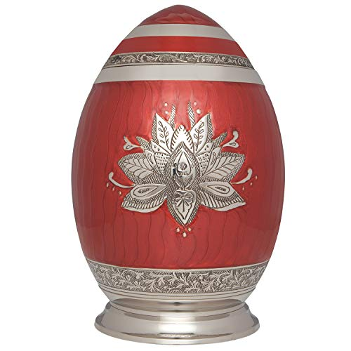 (Red Lotus Cremation Urn by Liliane Memorials - Urns for Human Ashes Remains - Brass - Suitable for Funeral Cemetery Burial or Niche - Large Size for Adults up to 200 lbs - Egg Silver Lotus Flower)
