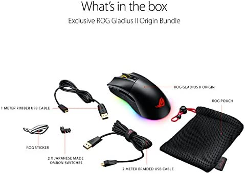 ASUS ROG Gladius II Origin Wired USB Optical Ergonomic FPS Gaming Mouse featuring Aura Sync RGB, 12000 DPI Optical, 50G Acceleration, 250 IPS sensors and swappable Omron switches,Black 41Tyec5747L