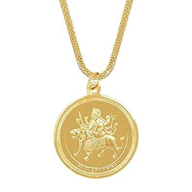 Shining jewel 24k gold plated durga devi coin pendant and necklace shining jewel 24k gold plated durga devi coin pendant and necklace sj2279 mozeypictures Image collections