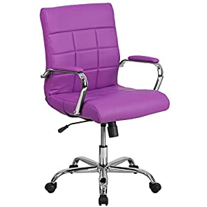 Beau Flash Furniture Mid Back Purple Vinyl Executive Swivel Chair With Chrome  Base And Arms