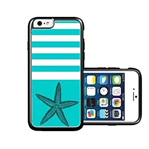 RCGrafix Brand Starfish Teal Nautical Stripes iPhone 6 Case - Fits NEW Apple iPhone 6