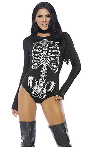 Forplay Women's Bad to The Bone Bodysuit Costume, Black, ()
