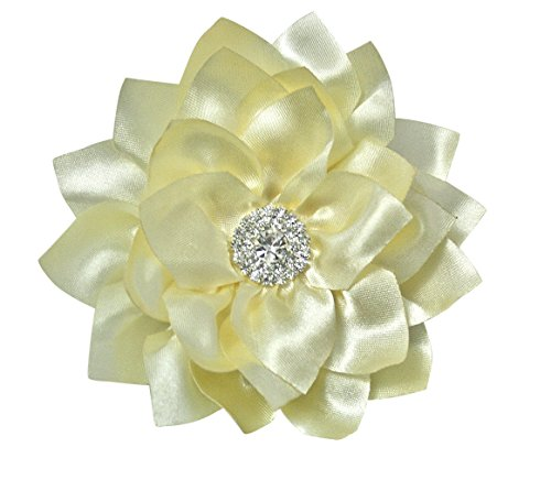 Ivory Silk Peony Flower Handcrafted Hair Clip Rhinestone Bridal Bridesmaid Flower Girl Hair Accessory (4.0 inch, Ivory) (Style Peony Bride Dress)