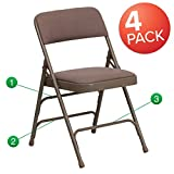 Fold Up Kitchen Chairs Flash Furniture 4 Pk. HERCULES Series Curved Triple Braced & Double Hinged Beige Fabric Metal Folding Chair