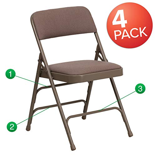Flash Furniture 4 Pk. HERCULES Series Curved Triple Braced & Double Hinged Beige Fabric Metal Folding Chair (4 Seat Curved)