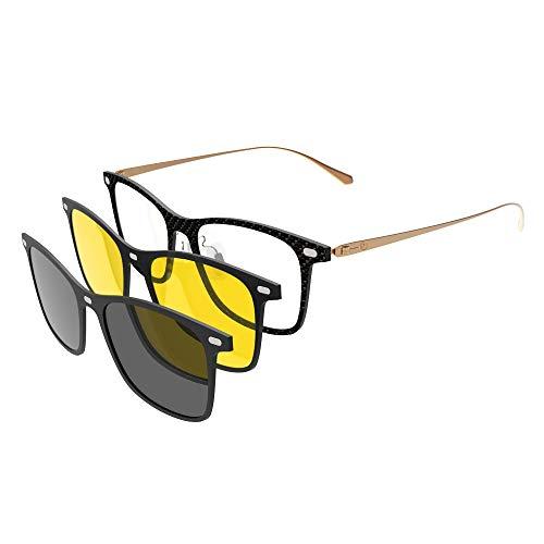 - GLASSESKING Eyeglasses Frame Optical Frame Prescription Eyeglasses Frame With Magnetic Clip-on Sunglasses Carbon Fiber frame (Gold)