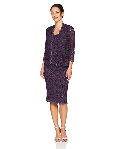 Alex Evenings Women's Petite Two-Piece Set With Dress and Jacket (Regular Sizes), Eggplant, 14P (Alex Evening Jackets)