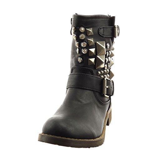 Sopily - Zapatillas de Moda Botines cavalier Tobillo mujer tachonado strass Hebilla Talón Tacón ancho 3.5 CM - plantilla sintética - forradas en piel - Negro