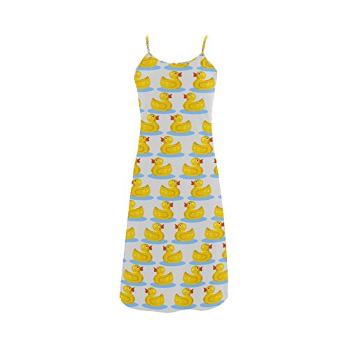 Kawaii Cute Rubber Ducky Polyester Satin Finish Women's Slip Dress
