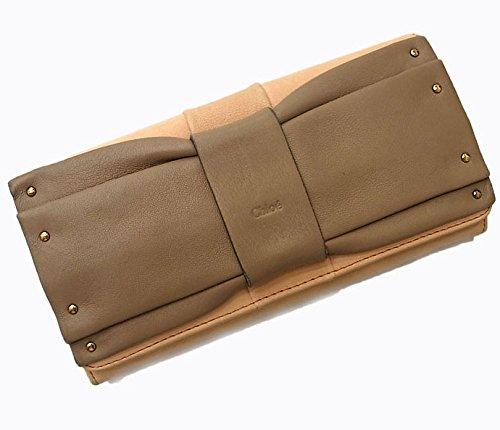 クロエ ジューン 二つ折り長財布 ベージュ×オレンジ バイカラー リボンモチーフ [中古] B075MD8MDC