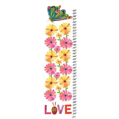 Marmont Hill MH-ECG-13-C-42 Butterflies Love Flowers by Eric Carle canvas Growth Chart, 12