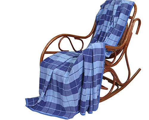 100% Pure Flax Linen Blanket (Blue) (Blue Linen Bedding)