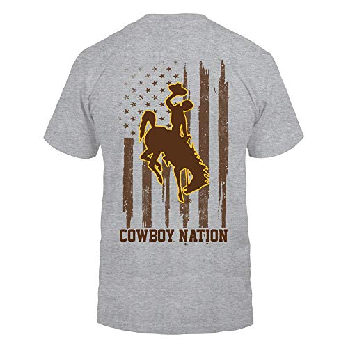 FanPrint Wyoming Cowboys T-Shirt - Nation - Gold Shirt - Men's Tee/Grey / 3XL