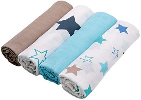 Zollner 4 mantas de muselinas para bebé algodón 100%, 120x120 cm ...