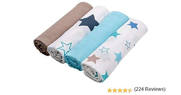 Zollner 4 mantas de muselinas para bebé algodón 100%, 120x120 cm, muy grandes: Amazon.es: Bebé