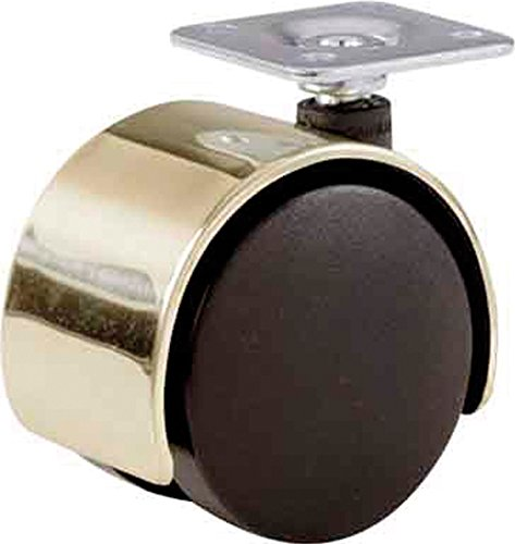 Shepherd Hardware 9725 2-Inch Office Chair Caster, Twin Wheel, 1-1/2-Inch Sq. Plate, 75-Lb Load Capacity, Bright Brass Hood