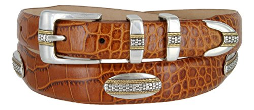 (St. Andrews Gold - Italian Alligator Embossed Golf Belt with Conchos (Alligator Tan, 36))