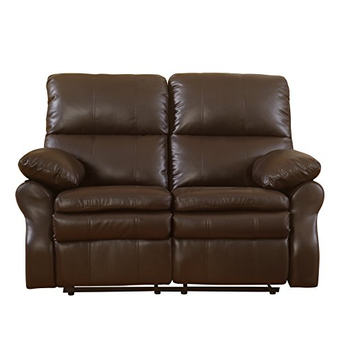 Classic Brown Bonded Leather Oversize Double Recliner