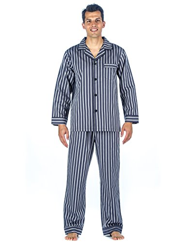 Mens 100% Cotton Woven Pajama Sleepwear Set - Stripes Grey Tone - Large (Stripe Pajama Top Woven)