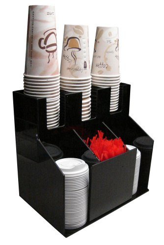 [Cup and Lid Holder Dispenser Countertop Organizer 3wx2d Coffee Condiment Stirrer, Sugar Cup Caddy Organize and Display Your Coffee Counter station with Style (1011)] (Countertop Condiment Dispenser)