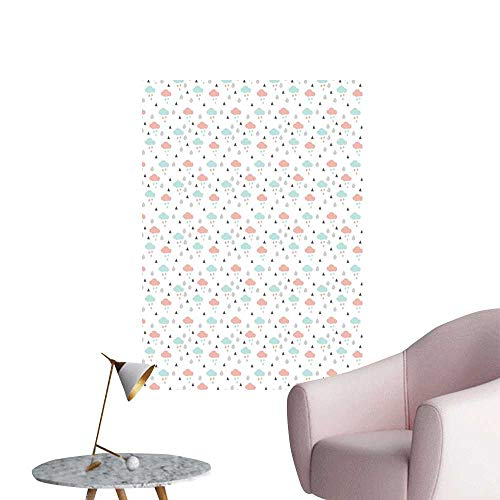 Pastel Wall Mural Wallpaper Stickers Scandinavian Design Clouds with Raindrops and Triangles Weather in Winter Simple European Style Baby Blue Blush Grey W20 x H28