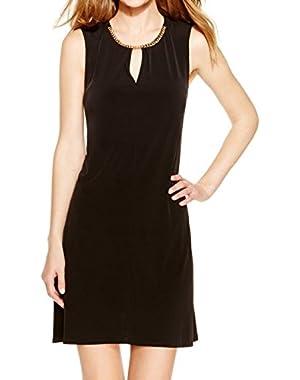 Calvin Klein Womens Jersey Flared Dress w/ Chain at Neckline