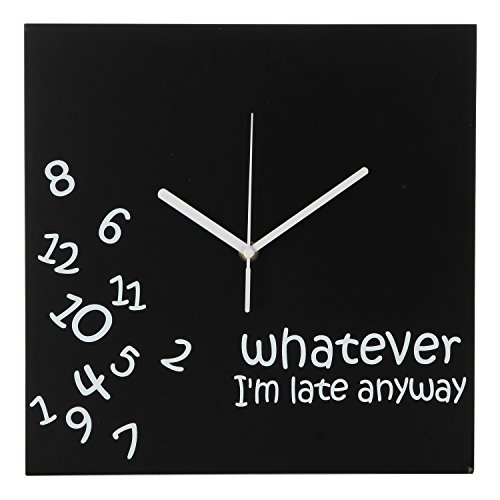 Whatever I'm Late Anyway | Battery Operated Unique Wall Clock-for Living Room, Bedroom or Kitchen Use (Black) (Large Clocks Wall Unique)