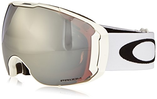 Oakley Men's Airbrake XL Snow Goggles, Polished White, Prizm Black Iridium, - White Oakley Iridium Polished Black