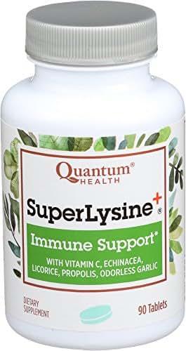 Quantum Health Super Lysine+ / Advanced Formula Lysine+ Immune Support with Vitamin C, Echinacea, Licorice, Propolis, Odorless Garlic (90 Tablets)