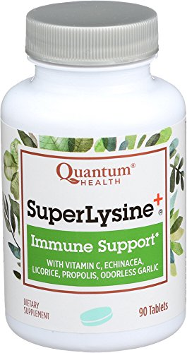 - Quantum Health Super Lysine+ / Advanced Formula Lysine+ Immune Support with Vitamin C, Echinacea, Licorice, Propolis, Odorless Garlic (90 Tablets)