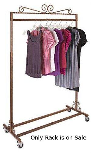Boutique Cobblestone Salesman Rolling Rack - Single Rail 48''W X 20''D X 48-66'' H by Display Rack