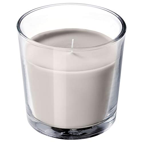 IKEA ASIA SINNLIG Scented Candle in Glass, Nutmeg and Vanilla, Grey