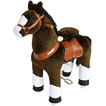 PonyCycle Official Ride On Horse No Battery Electricity Mechanical Chocolate With White Hoof Medium For Age 4 9