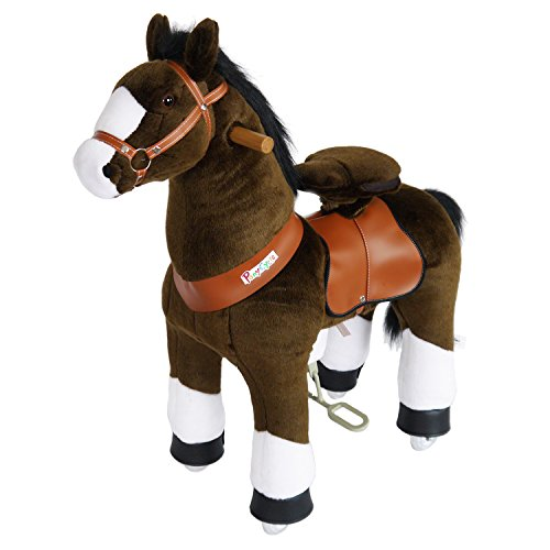 PonyCycle Official Riding Horse Toy No Battery No Electricity Mechanical Pony Chocolate Brown with White Hoof Giddy up Pony Plush Walking Animal for Age 4-9 Years Medium Size - N4152