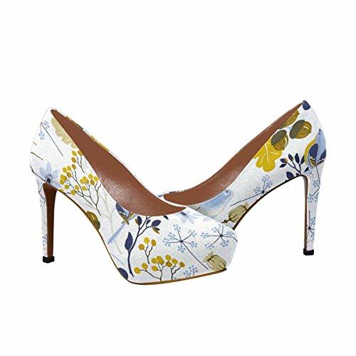 Interestprint Mujeres Classic Fashion High Heel Platform Bombas Patrón De Otoño Con EleHombrestos De Diseño Floral Y Pájaros