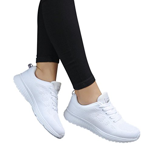 vermers Women Casual Shoes - Fashion Mesh Round Cross Straps Flat Sneakers Running Shoes(US:6.5, White) by vermers