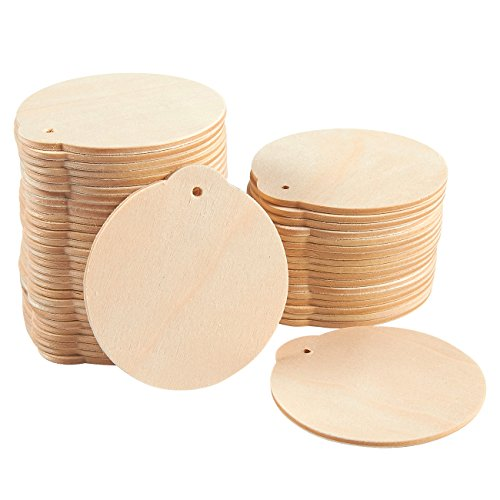 48-Pack Wood Discs - Wooden Christmas Ornaments, Wood Circles for DIY Xmas Decoration, Craft Ornaments, Brown - 2.8 x 0.08 x 3 Inches Each