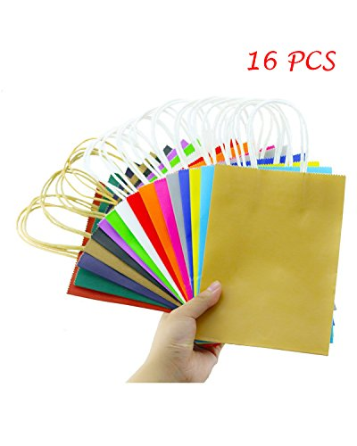 "Fyess 16 PCS 11"" Party Gift Bags Rainbow Assortment String Handles Birthday Favors, Birthday Party Crafts,Rainbow Birthday Party Supplies,Snacks, Decoration, Arts & Crafts, Event Supplies"