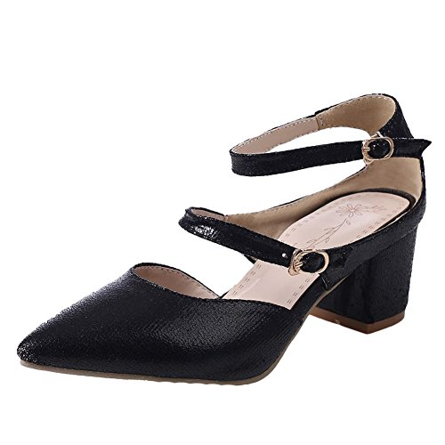 Carol Shoes Women's Western Charm Mid Heel Pointed Toe Buckles Sandals Black bhDnLGuki