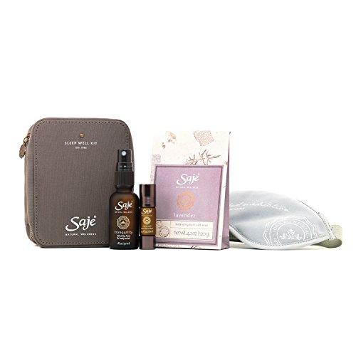 Saje Sleep Well Set, Encourages a Resftul Sleep, Sleep Well Essential Oil Blend (0.2 fl oz), Tranquility Mist (1 fl oz), Lavender Bath Salts (4.2 oz), Shut Eye Herbal Eyeshade, 100% Natural (Salt Herbal Scented Bath)