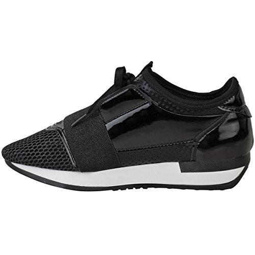 Mode Dorstige Dames Hardlopers Bali Sneakers Glitter Trainers Stretch Maat Zwart Patent