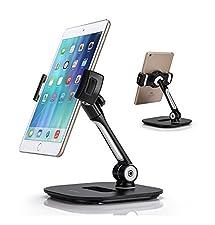 AboveTEK Stylish Aluminum Tablet Stand, Cell Phone Stand, Folding 360° Swivel iPad iPhone Desk Mount Holder fits 4-11