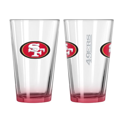 NFL San Francisco 49ers Elite Pint Glass, 16-ounce, 2-Pack (Sports Francisco San Glass 49ers)