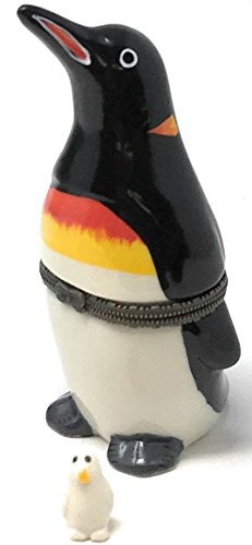 (Porcelain King Penguin Hinged Lid Trinket Box with Tiny Trinket Inside, 3.75 Inches Tall )