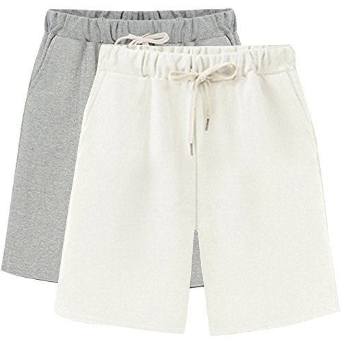Spandex Terry Shorts (Gooket Women's Soft Knit Elastic Waist Jersey Bermuda Shorts with Drawstring 2 Pack Grey+White Tag XL-US 4)