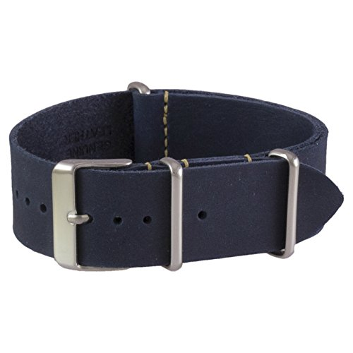 Benchmark Straps 22mm Navy Blue Oiled Leather NATO Watchband (More Colors (Navy Blue Strap)